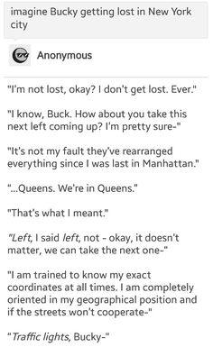 Imagine Bucky tumblr: getting lost in New York