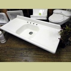 VINTAGE PORCELAIN OVER CAST IRON DOUBLE DRAIN BOARD KITCHEN SINK WITH SMALL  BACK SPLASH : Architectural