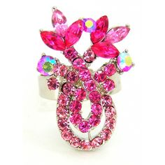 Pink Swarovski Crystal Flower Ring