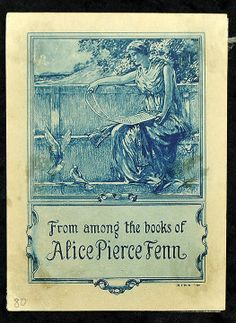Alice Pierce Fenn Antique Bookplate Signed E. B. Bird