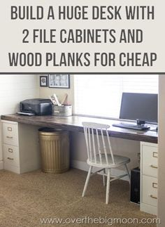 Organize your office space with these DIY office crafts and hacks. These ideas will leave your space functional, organized and a place you'll love to be! I'd love a huge home office desk like this! File Cabinet Desk, Filing Cabinets, Office Cabinets, Diy Cabinets, Sweet Home, Diy Desk, Diy Computer Desk, Diy Wood Desk, Spare Room