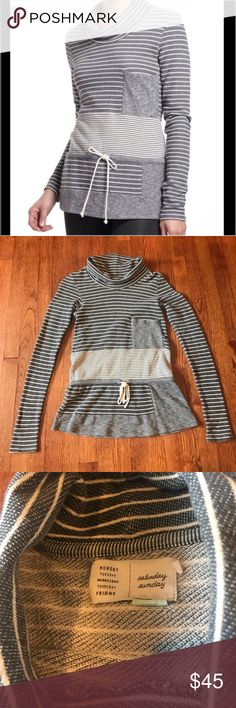 ANTHROPOLOGIE Saturday Sunday Striped Pullover Saturday Sunday by Anthropologie Pullover. Has striped pattern with various different widths. Has slight cowl. Size XS. Excellent condition. Anthropologie Tops