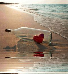 Message In A Bottle ❤️ I Love Heart, With All My Heart, Happy Heart, Heart In Nature, Heart Art, Message In A Bottle, Am Meer, Love Symbols, Queen Of Hearts