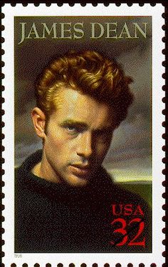 actor James Dean was killed in Cholame, California, when the Porsche he was driving hit a Ford Tudor sedan at an intersection. James Dean, Postage Stamp Design, Postage Stamps, Rockabilly, Commemorative Stamps, Actor James, Old Movie Stars, Stamp Collecting, Famous Faces