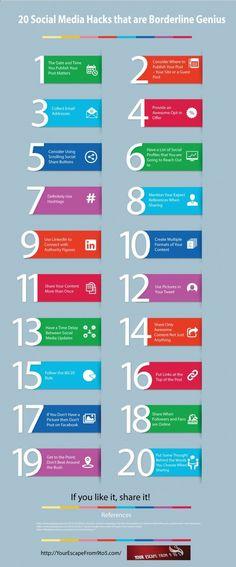 20 social media hacks-the-is-borderline genius infographic image Marketing Digital, Inbound Marketing, Affiliate Marketing, Marketing Trends, Marketing Online, Business Marketing, Content Marketing, Internet Marketing, Social Media Marketing