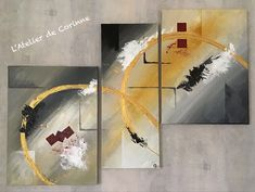 Tableau abstrait triptyque dans les tons gris, noir, jaune, or et rouge Or, Craft, Grey Table, Black Painting, Landscapes, Yellow