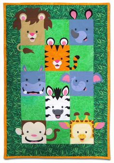 Jungle Friends Quilt Pattern by Willow Bay Designs (store closing May Quilting Projects, Quilting Designs, Sewing Projects, Quilting Ideas, Baby Applique, Applique Quilts, Animal Quilts, Boy Quilts, Baby Sewing