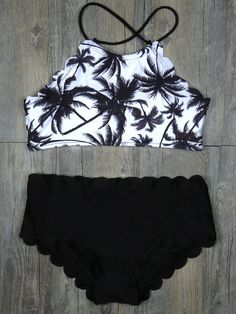 Halter High-waisted Tank Padding Bikini Sets