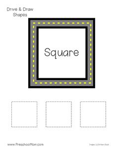 Shapes Activities for Preschoolers! Hands-on Preschool Math Printables: Drive and Trace Shapes. This free set of Shape Tracing Worksheets is great for PreK! Shapes Flashcards, Shape Tracing Worksheets, Tracing Shapes, Kids Math Worksheets, Kindergarten Reading Activities, Preschool Writing, Toddler Learning Activities, Preschool Activities, Preschool Shapes
