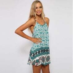 SALE M Paisley Elephant Flowy Beach Sun Mini Dress ⭐️⭐️⭐️⭐️⭐️ NWT Turquoise (w/ White, Black and Maroon Red) Spring Summer Boho Hippie Elephant Racerback Spaghetti Strap Tank Casual Flowy Mini Sun Beach Dress. Really soft, smooth, and lightweight. Great with a cute bralette underneath or as a swimsuit coverup! *Dry clean or hand wash cold.* 🚨PRICE FIRM! BUNDLE & SAVE! NO TRADES!🚨 (Mermaid Bliss Boutique) Dresses Mini