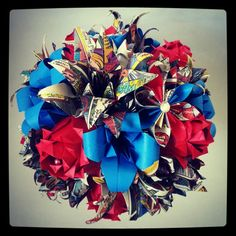 Origami Paper Bouquet Flower Spiderman Marvel Comic Book Wedding Alternative Bride Red Blue