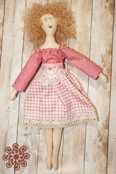 Ragdoll Betty (like Tilda dolls), moppet, doll made of fabric by LarecCreations on Etsy