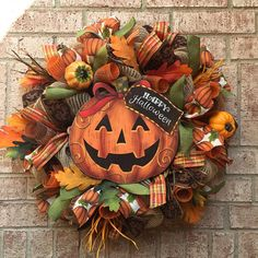 Halloween Wreath Fall Wreath Pumpkin Wreath Front Door Decor