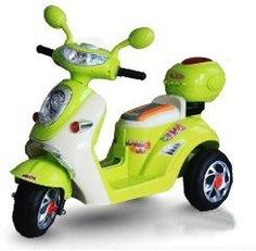 KIDS RIDE ON GREEN RECHARGEABLE ELECTRIC 3 WHEELS MOTOR BIKE, SCOOTER + leather seat pad+ flashing lights+mp3 input+toy storage box (motorbike-green)