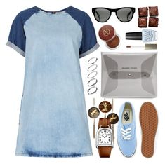 """""""TOPSHOP MOTO Bleach Contrast Dress"""" by thestyleartisan ❤ liked on Polyvore featuring Vita Liberata, Topshop, OPI, Vans, Oliver Peoples, Laura Mercier, David Aubrey, MANGO, ASOS and denim"""