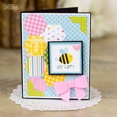 Bee Happy - Scrapbook.com - Get a cute quilted look by punching hexagons from different patterned papers!