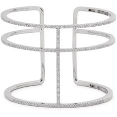 Womens Bracelets & Cuffs APM Monaco Sterling Silver Triple Band Cuff ($265) ❤ liked on Polyvore featuring jewelry, bracelets, sterling silver bangles, sterling silver cuff bangle, cuff bangle, white jewelry and hinged bangle