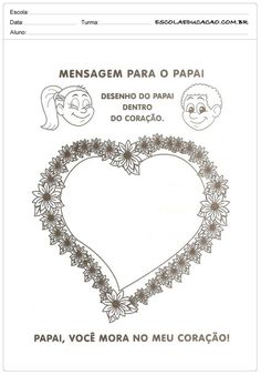Atividade Dia dos Pais - Mensagem para o papai Personalized Items, Cards, 1, Literacy Activities, Maps, Playing Cards