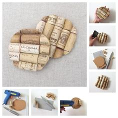 Cut corks in half lengthwise, glue them to a circular cork sheet, flip it over and cut away excess cork, then sand out the edges. Use these photo instructions as a guide.