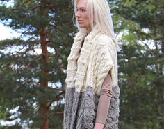 Instant Download PDF pattern. Hand knitted long chunky vest with pockets. Digital pattern from Ilze Of Norway. (0103)