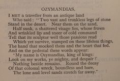 P B Shelley, 'Ozymandias' via the British Library Board.