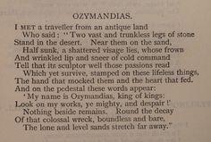 P B Shelley, 'Ozymandias' via the British Library Board.