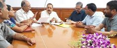 Union Minister Dr Jitendra Singh holding a meeting with political activists from Chenani led by local MLA Dina Nath Bhagat at New Delhi.