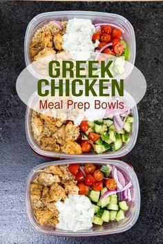 Chicken Bowls (Meal Prep Easy) Greek Chicken Meal Prep Bowls are great for healthy eating.Greek Chicken Meal Prep Bowls are great for healthy eating. Clean Eating Recipes, Lunch Recipes, Healthy Eating, Healthy Recipes, Healthy Meals, Healthy Meal Planning, Easy Healthy Meal Prep, Cheap Recipes, Clean Eating Lunches