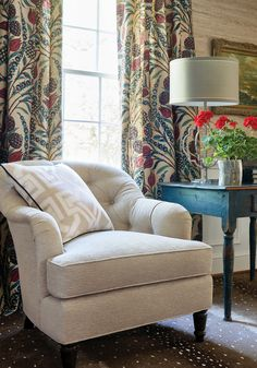 Essex Chair in Orion woven fabric in Flax from Thibaut Fine Furniture