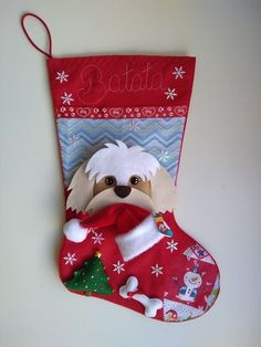 Dog Christmas Stocking, Felt Christmas Stockings, Felt Stocking, Felt Christmas Decorations, Stocking Tree, Felt Christmas Ornaments, Christmas Gingerbread, Christmas Time, Christmas Crafts