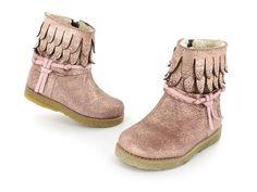 Shoesme Babycrêpe laarsjes - roze - metallic - franjes - studs -  soepele zool van 100% natuurcrêpe - maat 19-24