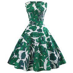 f27dc8a222c9 Women Dresses Godathe Women Vintage Sleeveless O Neck Evening Printing Party  Prom Swing Dress S-2XL Best Halloween Costumes & Dresses