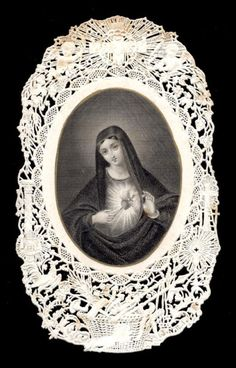 old holy card lace canivet merlettato SACRED HEART OF MARY 15