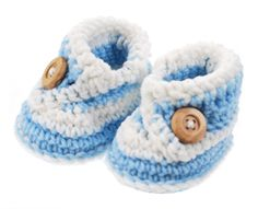 Now that you can crochet!  Baby Boy Blue Crochet Booties 0-3 months