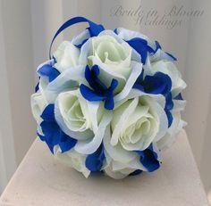 Wedding pomanders White Royal blue Wedding by BrideinBloomWeddings, $18.00