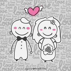 Casamento love desenhado