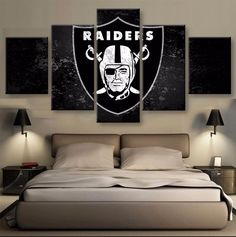 5 Panel Oakland Raiders Football Sports Team Logo Modern Home Wall Decor Canvas Picture