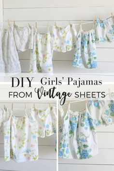 I first made these pajamas for my girls a few summers ago, when I came across some really pretty vintage sheets that I needed to find a use for. The faded florals were so pretty and airy, I thought they would be perfect for summer PJ sets.