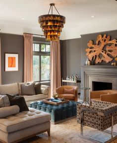 Neutrals, dark walls, pops of color, bold pieces, not cluttered