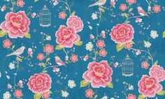 Pip Studio - Pip Wallpaper Wallpapers - An all over floral trail with pretty birds and bird cages. Showing in Deep blue and pink with metallic highlights. Other colour ways available. Paste-the-wall product. Textile Patterns, Print Patterns, Textiles, Cute Wallpapers, Wallpaper Backgrounds, Glass Floor, Pip Studio, Bird Cages, Pretty Birds