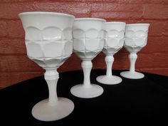 Indiana Milk Glass 4 Opaque White Constellation 10 ounce Goblets #IndianaGlass