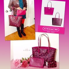 """Coach (A Set) Ocelot Reversible, Pouch & Wristlet. NWT Authentic Coach Ocelot Reversble City Tote, Travel pouch & Wristlet. Color:  Pink Leopard (Ocelot) /Black: wear this as pink or print. Zip top closure.. Handles drop 10"""". Measures 16""""top/11""""bottom x 10"""" (H) x 5.5"""" (W). Comes from a pet and smoke free environment.  Leather Coach hangtag.Gold tone Coach logo (inside and out). REVERSIBLE tote: Pink or ocelot (pink Leopard). Includes pink leather travel zipper pouch: 9.5""""L, 6"""" H, 1/2""""D…"""