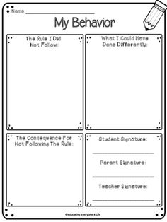 Student Reflections - Classroom Management Think Sheets Behavior Plans, Student Behavior, Behavior Charts, Whole Brain Teaching, Teaching Time, Teaching Ideas, Behaviour Management, Classroom Management, Think Sheet
