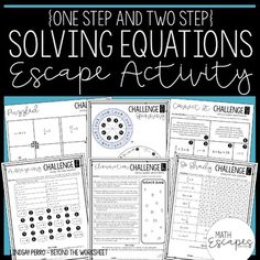 This escape room style activity provides students with a collaborative way to review solving basic one and two-step equations. Included are eight challenges that require students to solve basic equations to find codes that will unlock each puzzle.