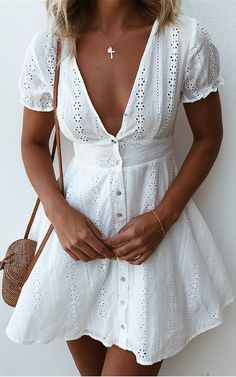 #winter #outfits white lace deep v-neck button-up cap-sleeved mini dress. Pic by @mura_boutique.