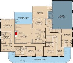 3-Bed House Plan with 8'-Deep Front Porch and Upstairs Bonus Room - 70587MK floor plan - Main Level