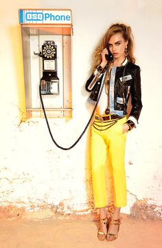 dsquared Resort 2013 - Bright Canary Yellow. Lady Boxy Jacket. Gold Metallic Sandals.