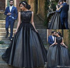 Spanish Wedding Dresses Vintage Black Lace Gothic A Line Wedding Dress 2016 Appliques Tulle Bridal Evening Event Ball Gown For Castle Evening Occasion Party Wear Spring Wedding Dresses From Whiteone, $129.13| Dhgate.Com