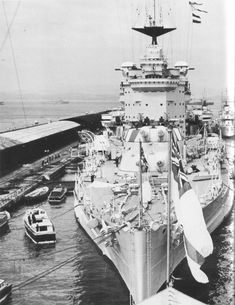 HMS Warspite in harbor one year before the outbreak of WW2.