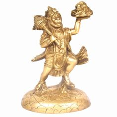 Shri Hanuman Statue made up of Brass with Golden Surface Coating